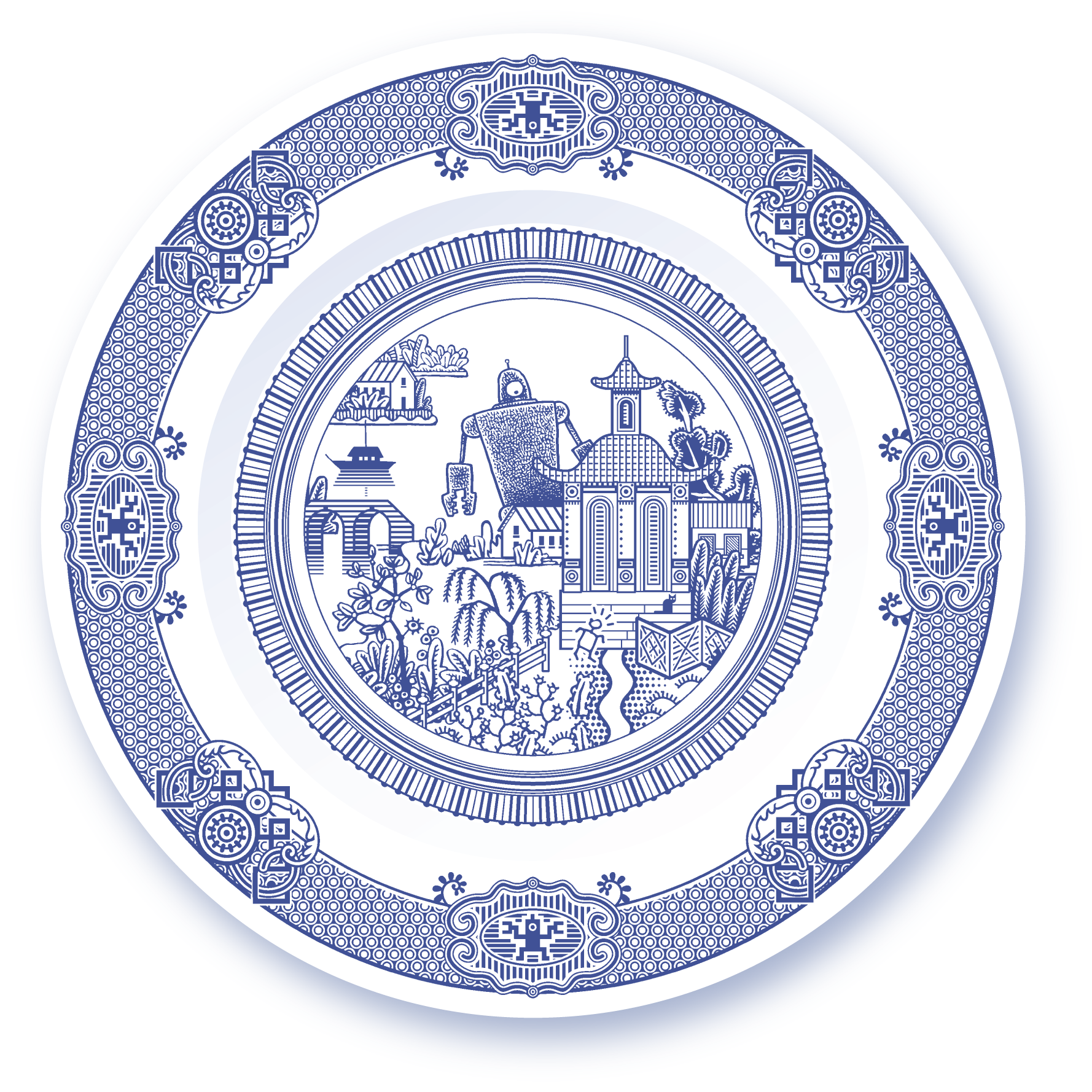 Calamityware Porcelain Plates With Traditional Designs That Are Augmented Monsters