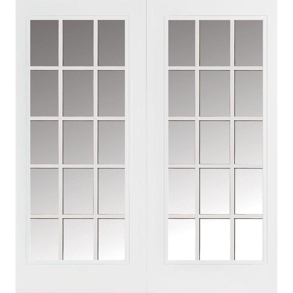 Masonite 72 In X 80 Prehung Right Hand Inswing 15 Lite Primed Steel Patio Door With Brickmold 97765 The Home Depot