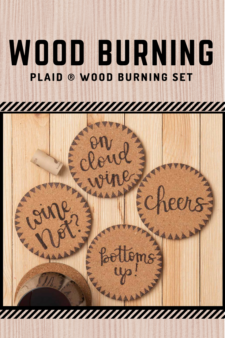 Make Your Own Personalized Cork Coasters With The Plaid Wood Burning Set Wood Burning Crafts Wood Coasters Diy Engraved Wood Coasters