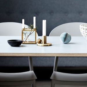 Square Brass Candlestand - on trend: brass