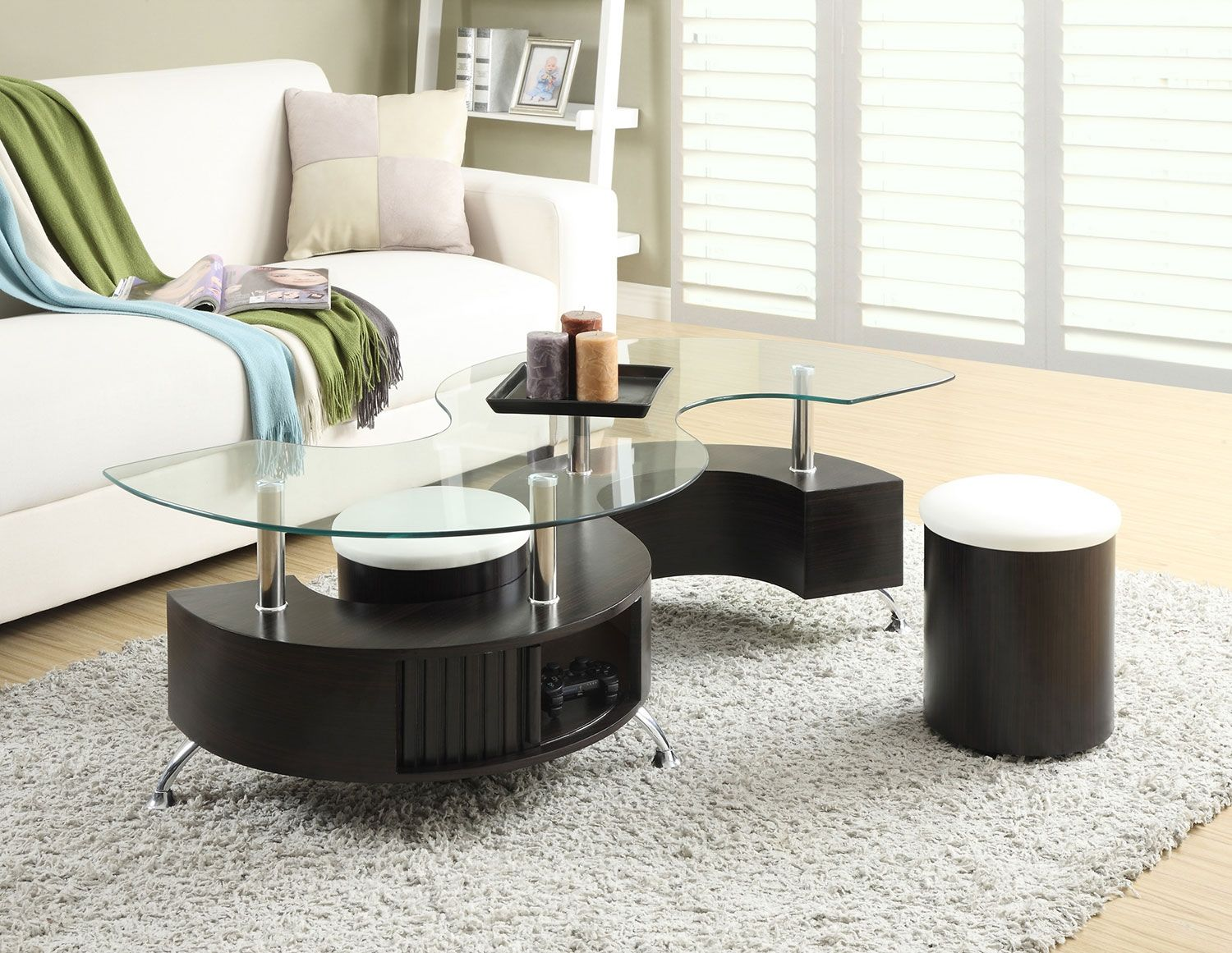 Seradala Coffee Table with Two Ottomans | Ottomans, Footrest and Bricks