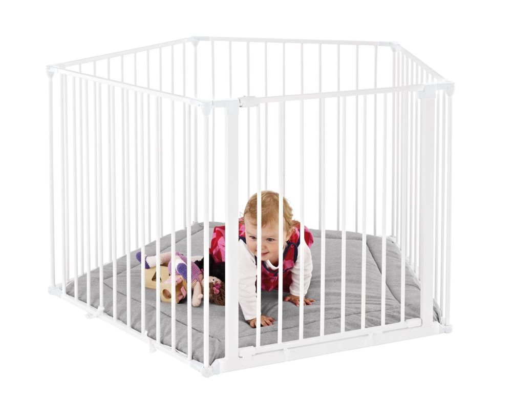 BabyDan White Playpen Room Divider With Playmat Playpen and Easy