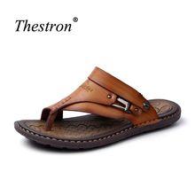 055cc7ec5dc Cuero para hombre Sandalias 11 verano Sandalias para hombres cómodos mens  playa Zapatos caqui negro caminando Sandalias hombres(China)
