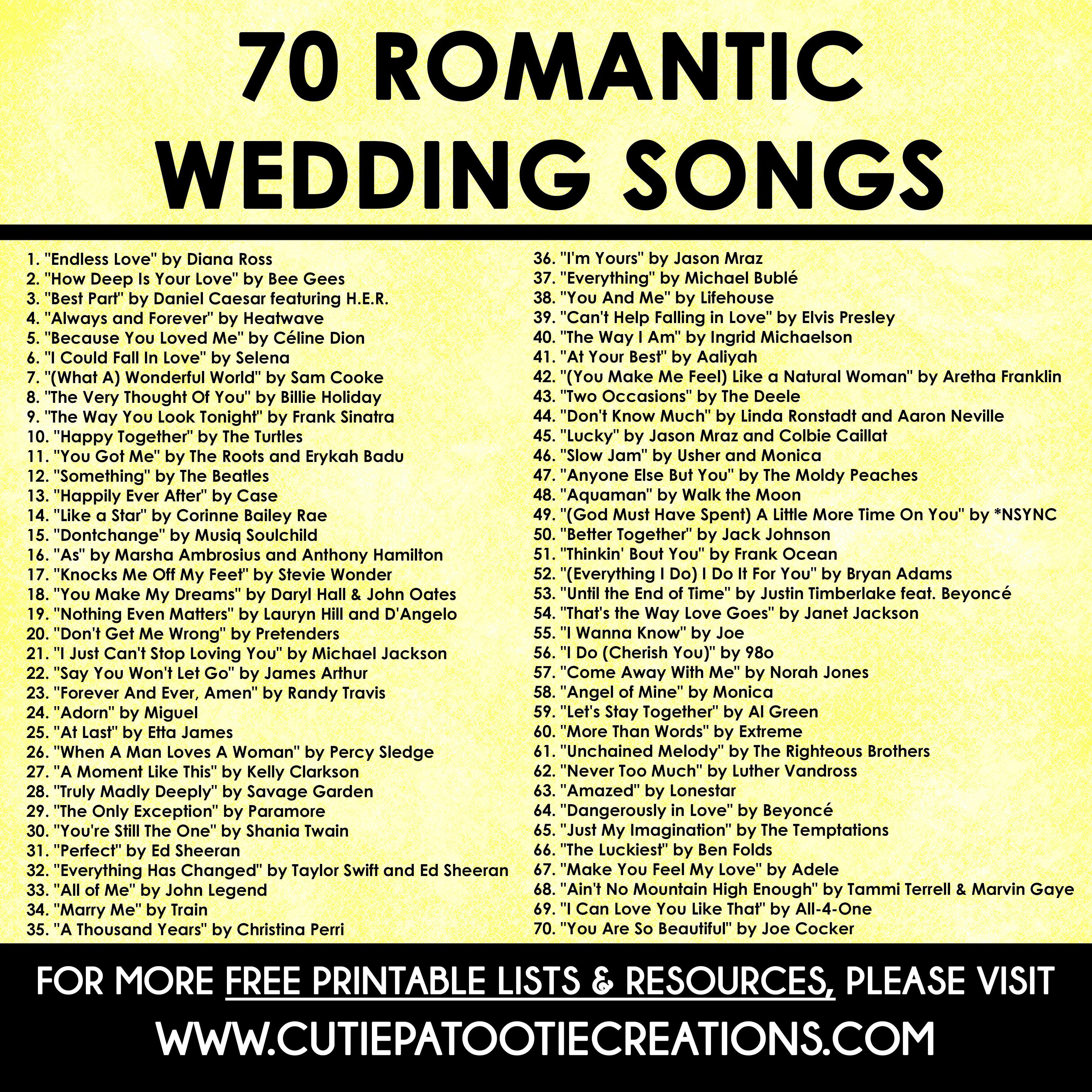 70 Romantic Songs For Weddings In 2020
