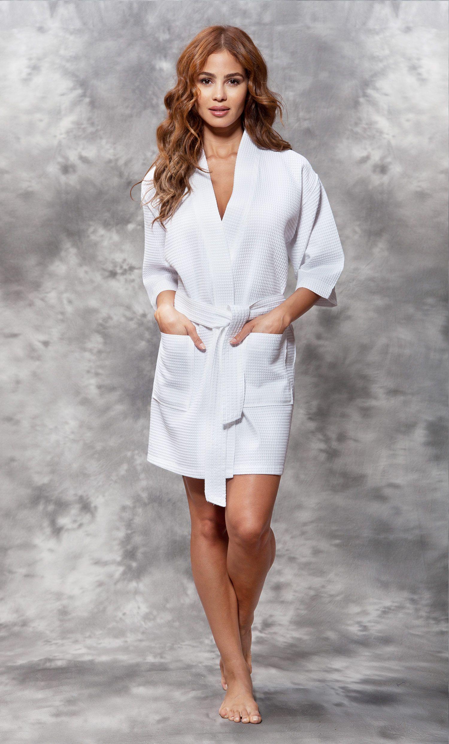 All Bathrobes    Waffle Kimono White Short Robe Square Pattern - Wholesale  bathrobes cba439cd5