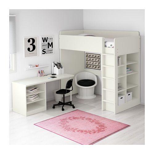 STUVA Hochbettkomb 2 Böden\/3 Böden, weiß weiß 207x99x193 cm - hochbett mit schreibtisch 2