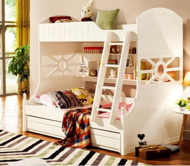 Best White Children Bedroom Furniture Kids Double Deck Bunk Bed 400 x 300