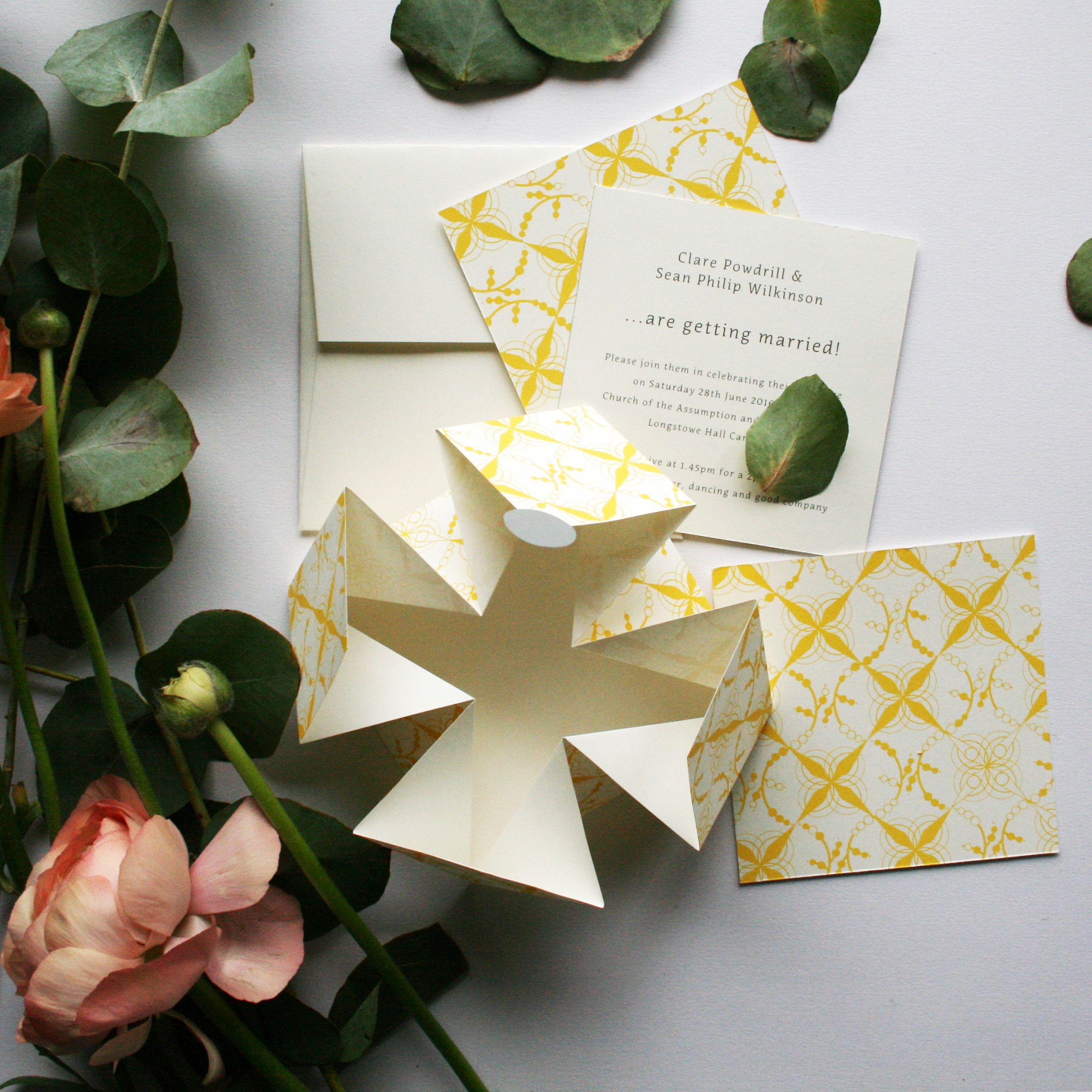 Ochre origami wedding invite | Origami | Origami wedding ... - photo#13