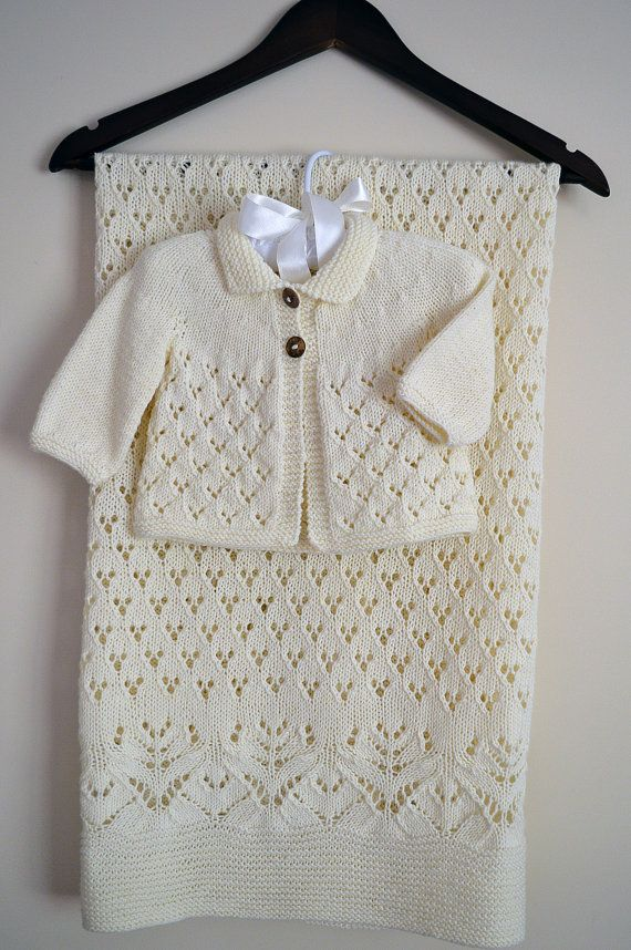 KNITTING PATTERN-Lace and Diamond Heirloom Blanket and Matching ...