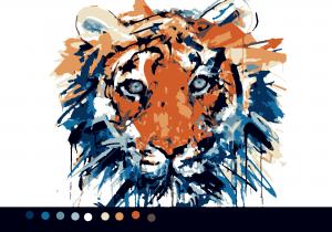 Тигр (10цв.) Схемы по номерам для печати|Раскраски по ...