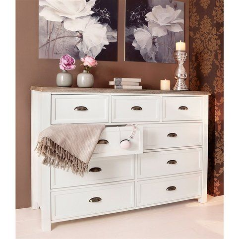 commode style romantique 9 tiroirs ch teau home affaire blanc d cor ch ne vue 1 chambre. Black Bedroom Furniture Sets. Home Design Ideas