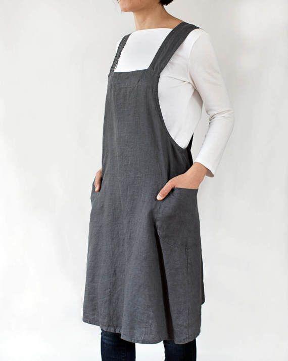d0663e6080 Linen pinafore apron dress for women in dark grey