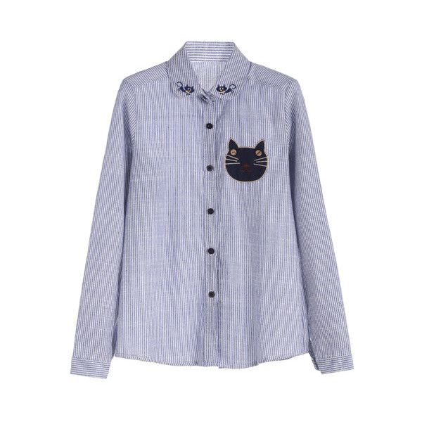Blue Vertical Striped Cat Embroidered Buttons Shirt ($11) ❤ liked on Polyvore featuring tops