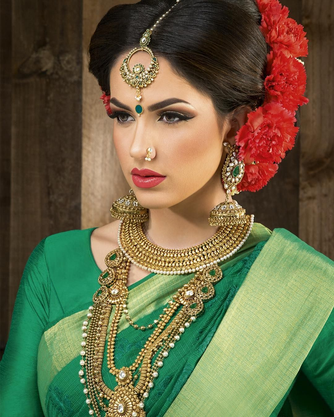 Make up chandenimua greensaree ukmakeup tamilwedding