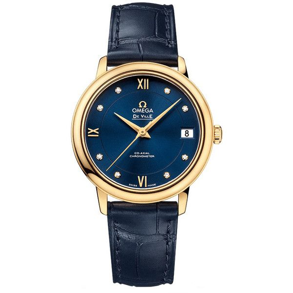 Omega De Ville Prestige Co-Axial 32.7 424.53.33.20.53.002 Watch ($6,853) ❤ liked on Polyvore featuring jewelry, watches, yellow gold watches, gold wristwatch, blue gold jewelry, gold jewellery and omega watches