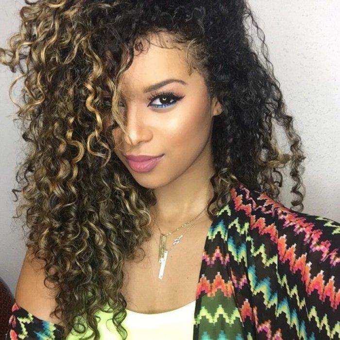 Curly Hair With Highlights Curly Hair With Highlights Applying A