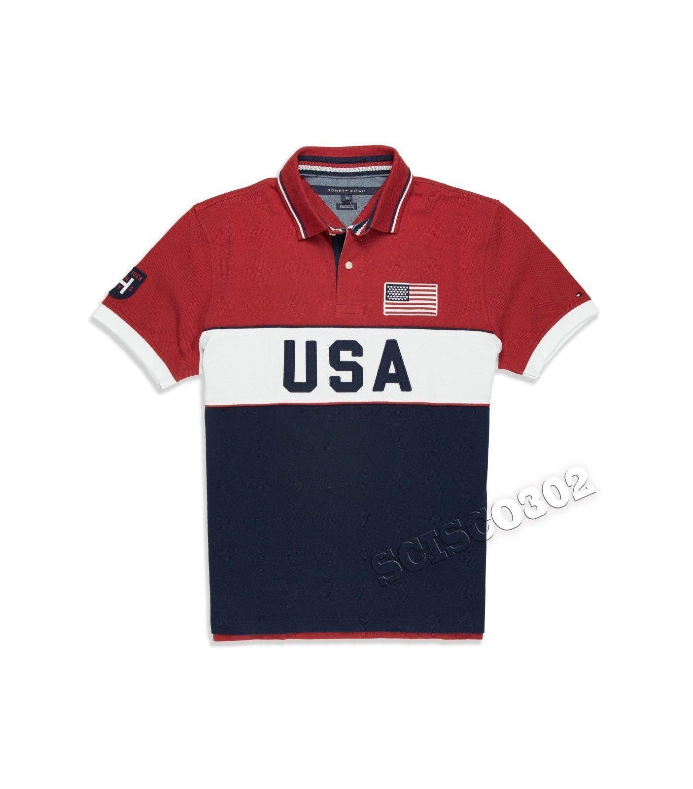 Tommy Hilfiger Custom Fit Polo Shirt USA Pieced Polo. Polo ShirtsUsaMen's  ...