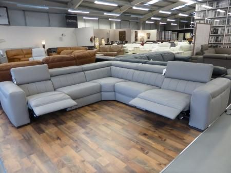 Natuzzi Editions Club B790 Leather Reclining Sofa Grey Furnimax Brands Outlet
