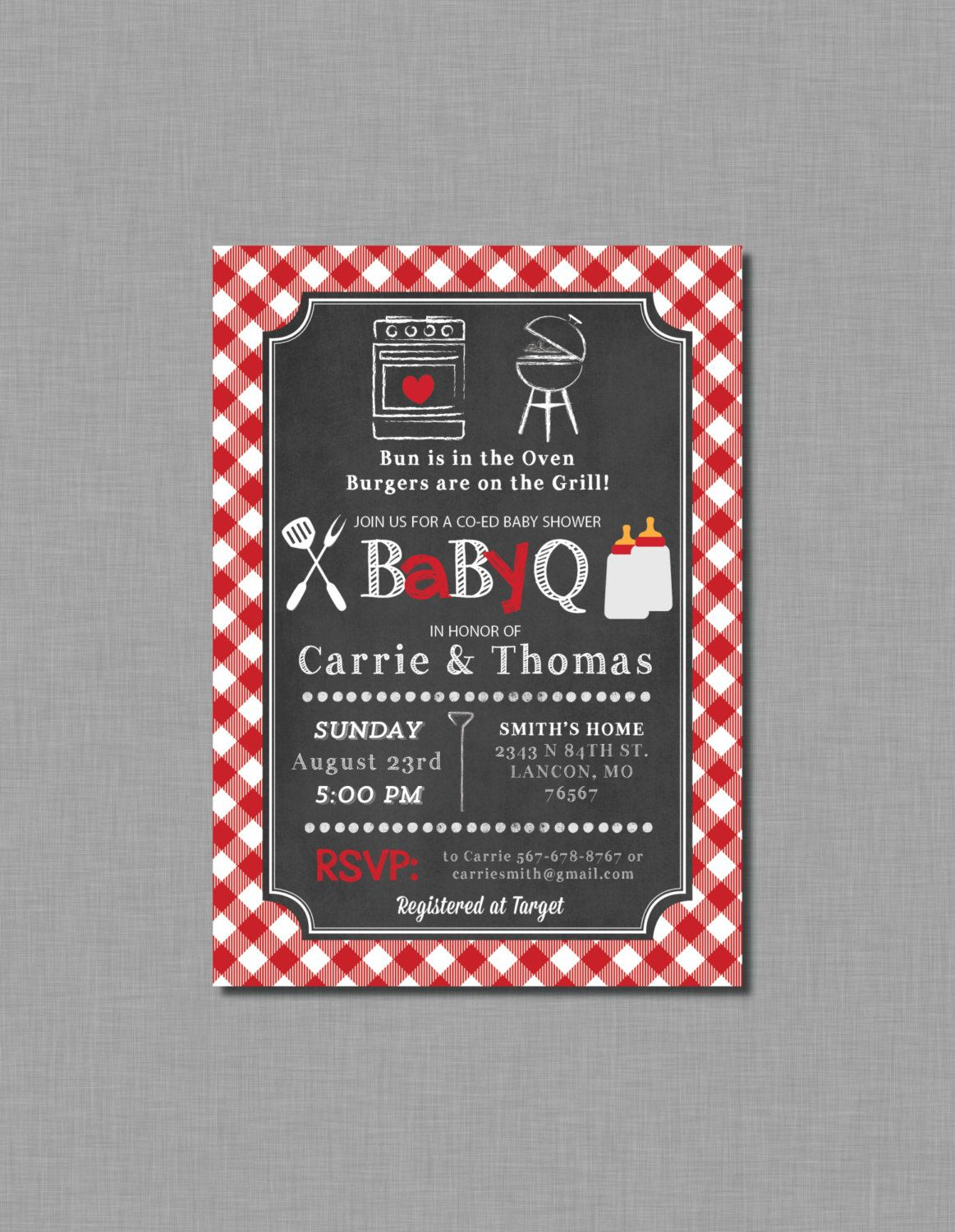 Red Baby Q invitations baby shower gender neutral coed bbq | Shower ...