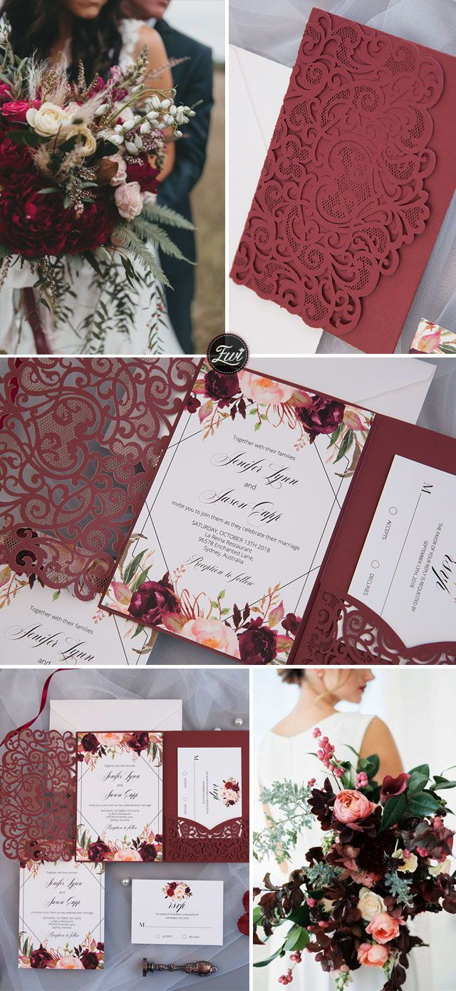Wedding decorations pics october 2018 The Modern Touchburgundy laser cut pocket fold with floral and