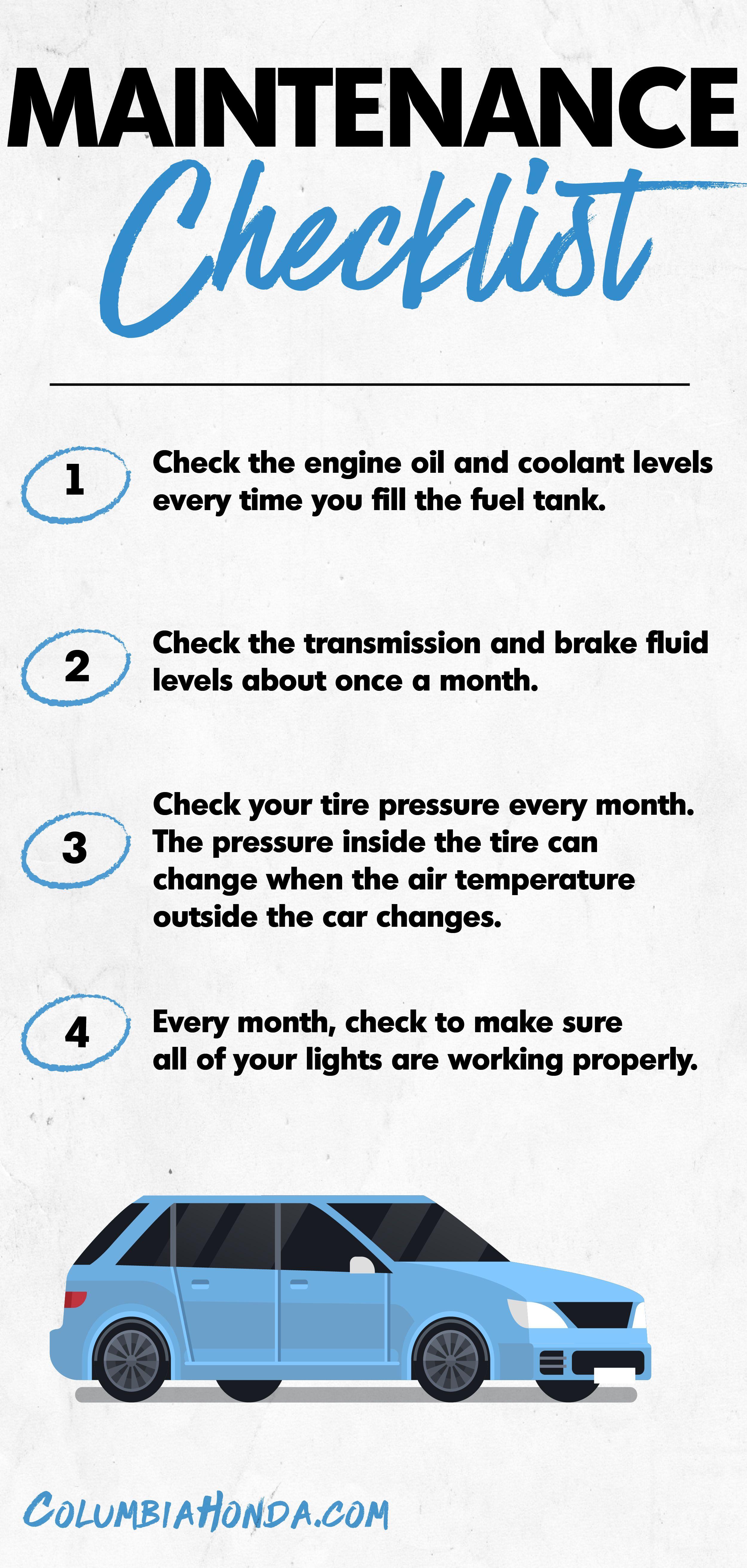 Maintenance Schedule Checklist Honda Dealership Used Car Dealer Car Dealer