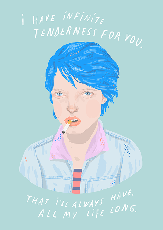 I Have Infinite Tenderness For You That I Ll Always Have All My Life Long Blueisthewarmestcolor Ivonn Blue Is The Warmest Colour Movie Artwork Illustration