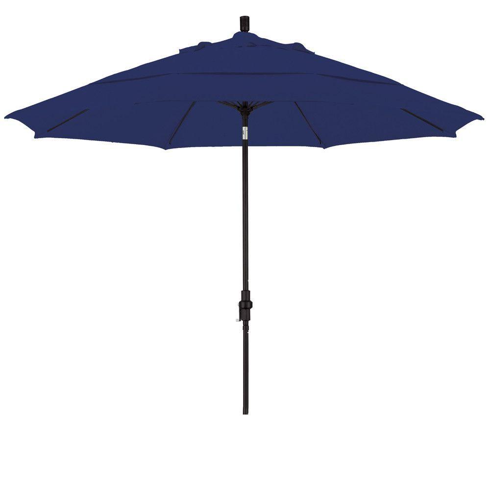 Eclipse Collection 11' Fiberglass Market Umbrella Collar Tilt DV Matted Black/Sunbrella/Navy