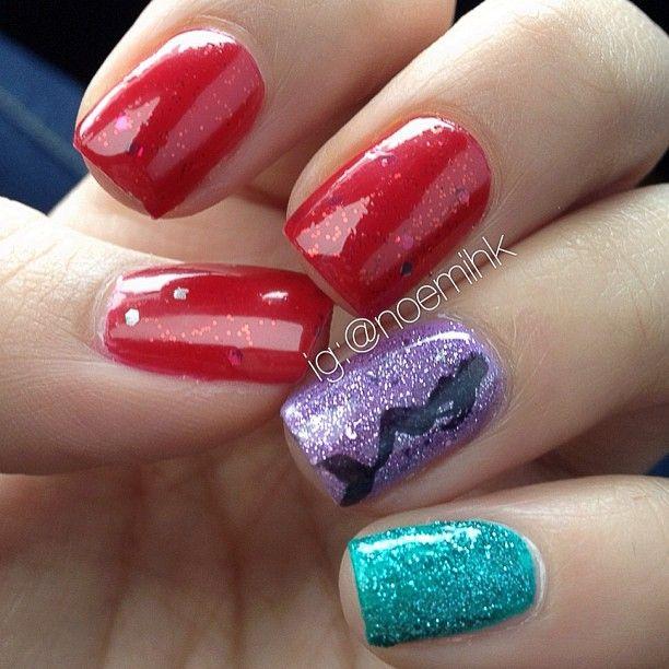 Little Mermaid Nails: .@noemihk Little Mermaid Disney
