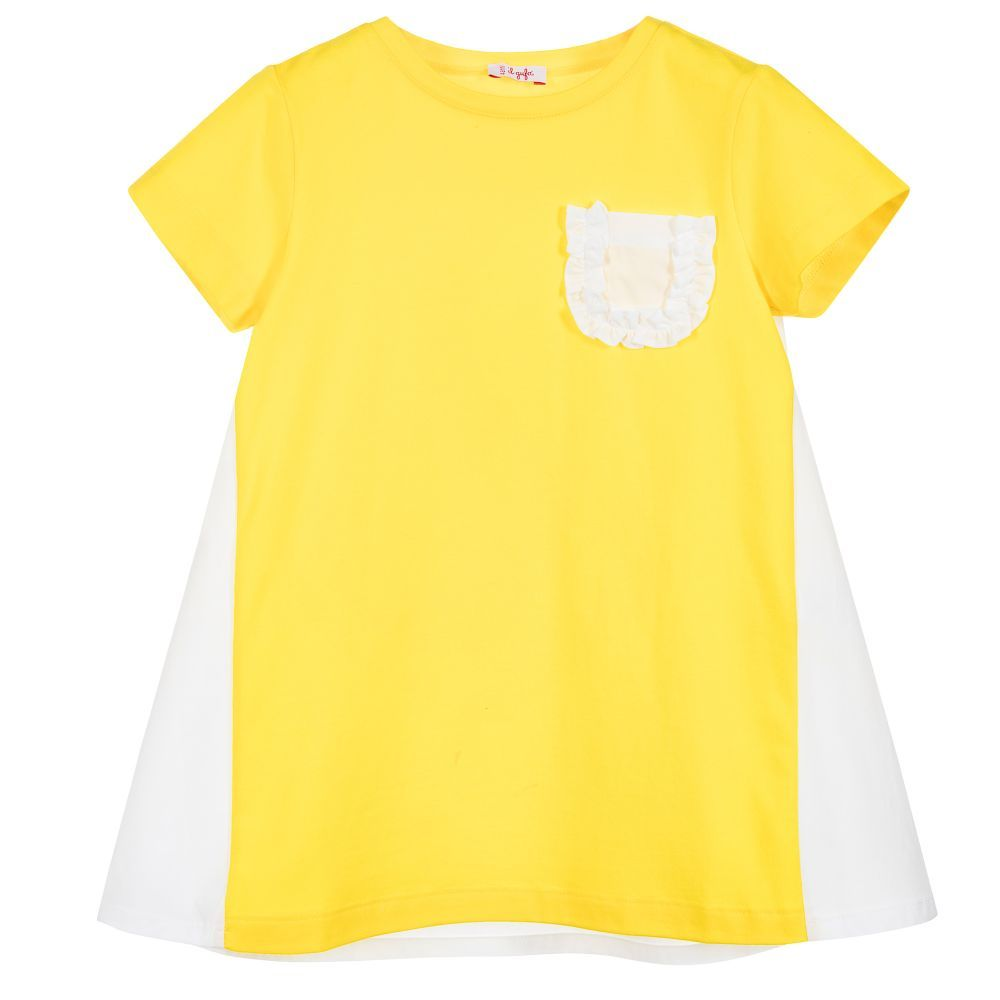 Yellow dress kids  Il Gufo  Girls Yellow u White Dress   DRESSES KIDS CHILDREN