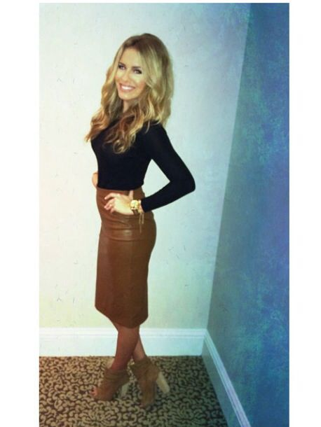 Camel leather skirt black long sleeve open toe booties