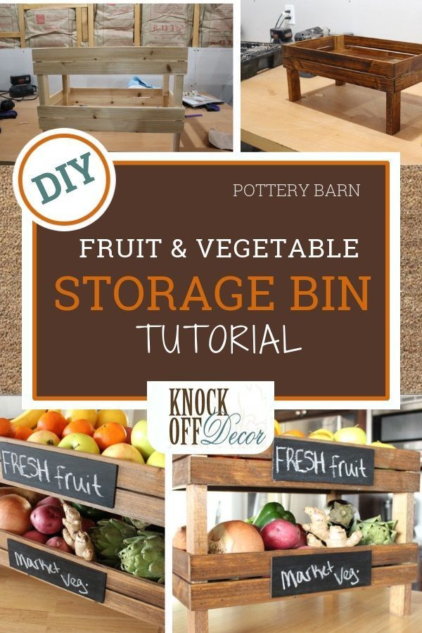 Keep the produce that you get from the store or farmer's market easily accessible with these Stackable Fruit and Vegetable  Storage Bins. These bins will add a cute vintage touch to your kitchen. You could also use it as a organizer in your bathroom. Check out this cool DIY project at KnockOffDecor.com. #diyprojects #diyhomedecor #decorideas #diyideas #diywoodprojects