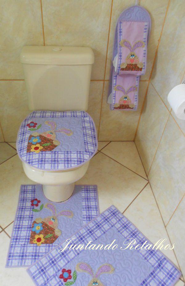 Kit Banheiro Em Tecido : Ateli? juntando retalhos kit conjunto banheiro