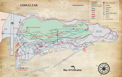 Tourist Style Map Of Gibraltar Ovw Secondtimearound Pinterest