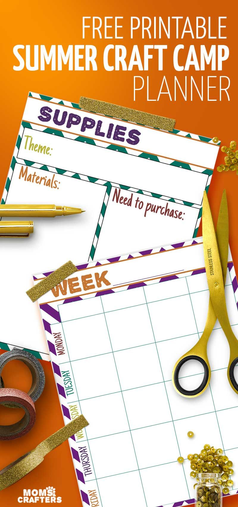 craft planner free printable calendar for craft camp at home moms rh pinterest com