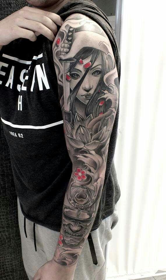 Geisha Samurai Tattoo Sleeve Geisha Tattoo Design Geisha Tattoo