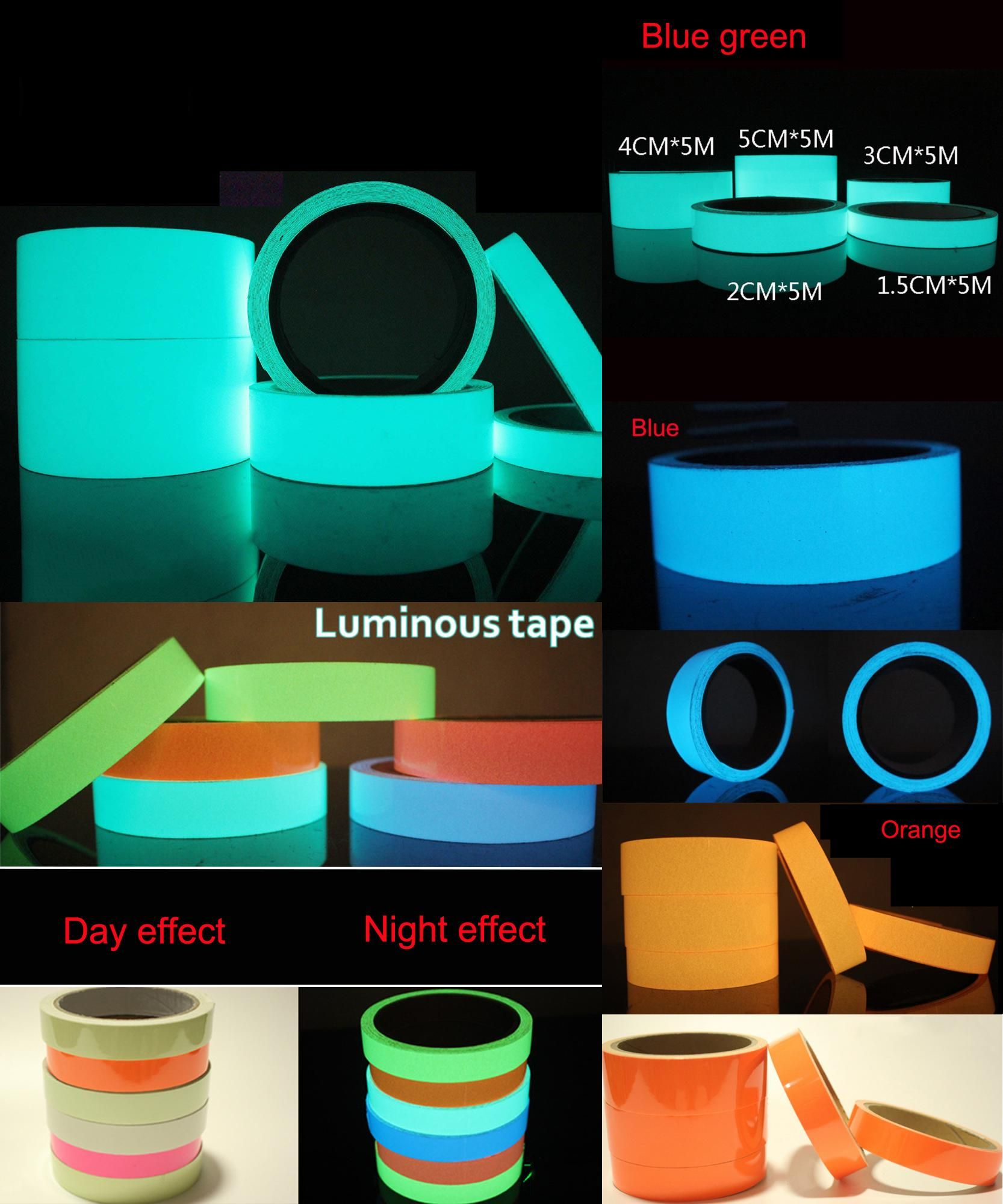 5 m*2cm Glow in the Dark Tape Luminous Tape Luminescent Tapes Safety Sticker