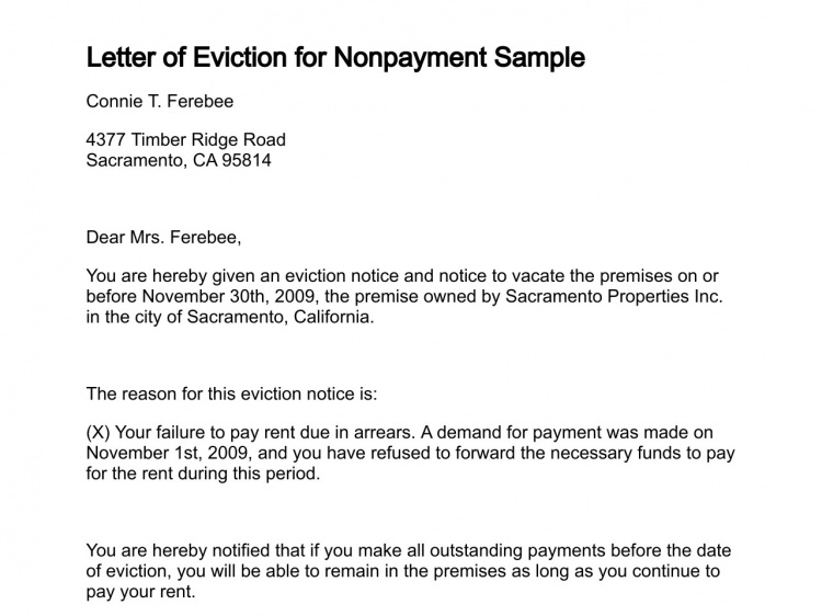 Printable Sample Letter Of Eviction Form  Laywers Template Forms