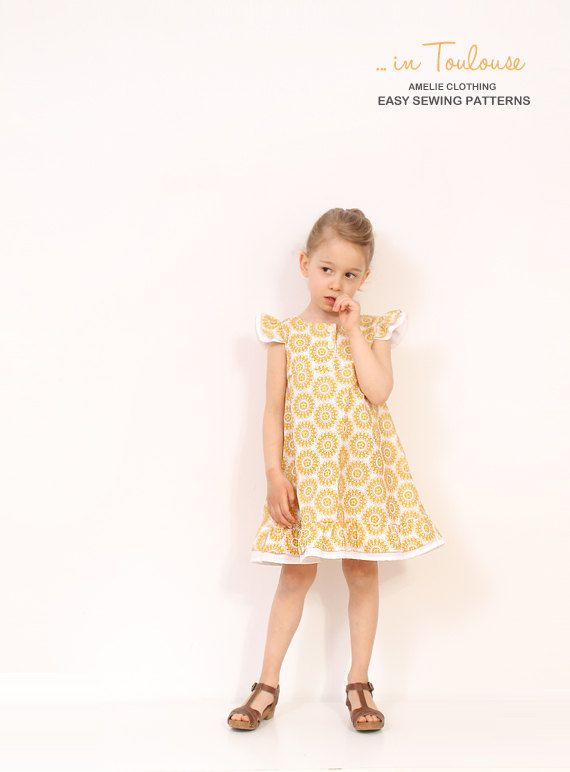 Vintage girls A line DRESS pattern - easy childrens sewing pattern ...