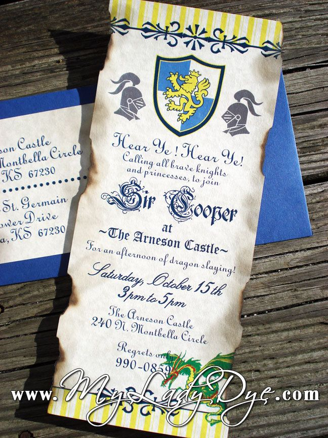 Medieval Dragon and Knight Themed Birthday Invitation