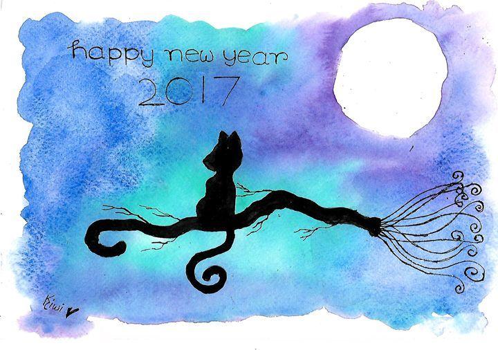 moon and cat #5 - Kiwi chan - Paintings & Prints Holidays & Occasions… | ArtPal thumbnail