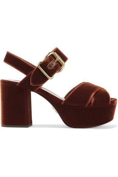 0276e93529 Heel measures approximately 85mm/ 3.5 inches with a 40mm/ 1.5 inches platform  Brown velvet Buckle-fastening ankle strap Made in Italy