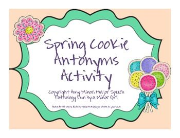 Spring Blog Hop Cookie Antonym Activity Freebie