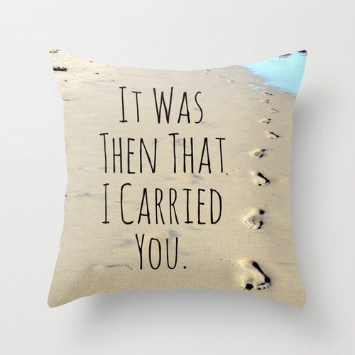 Items Similar To Footprints In Sand, Footprints Pillow, Beach Pillow, Faith  Home Decor, Christian Decor, Faith Quote, Tan Beach Pillow, Ocean Throw  Pillow ...