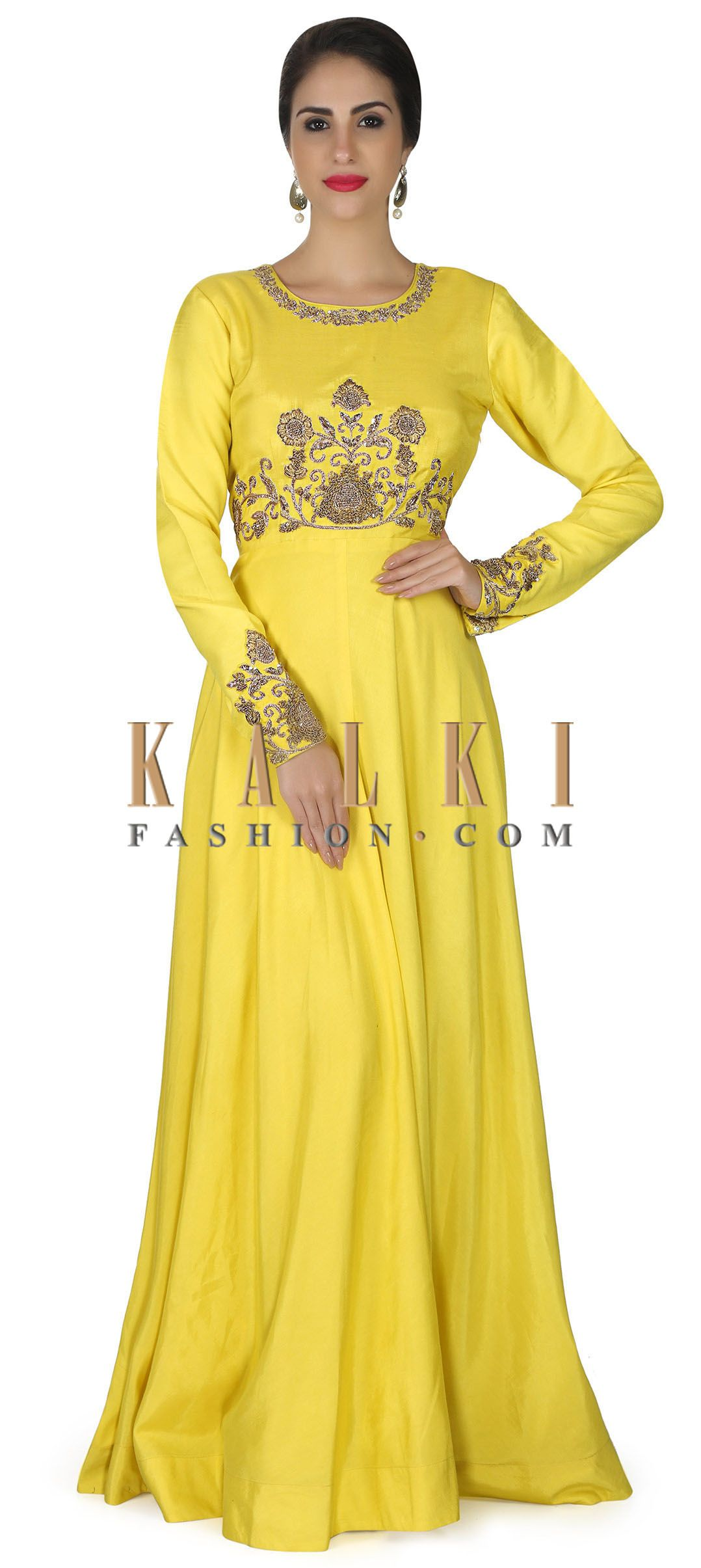 Yellow anarkali suit with zardosi embroidered waist line only on