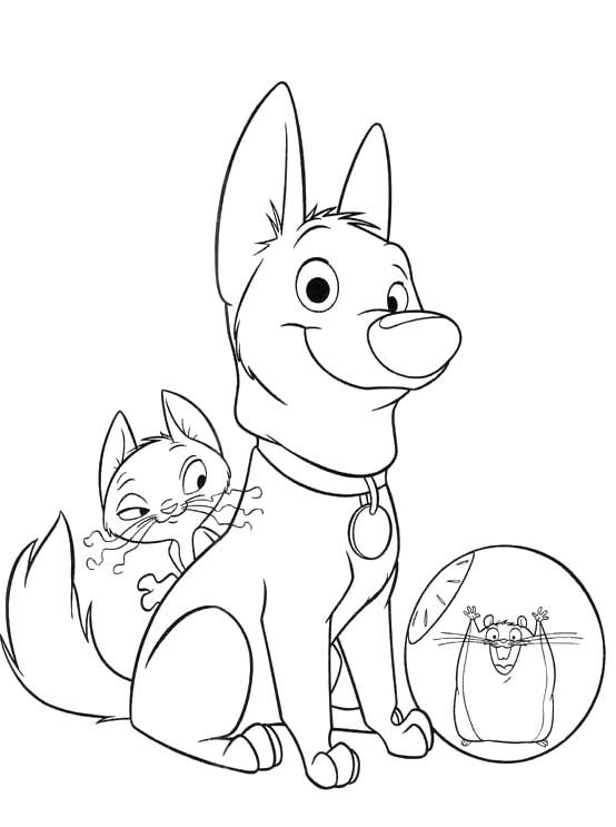 Bolt The Dog With Friends Coloring Pages With Images Cartoon