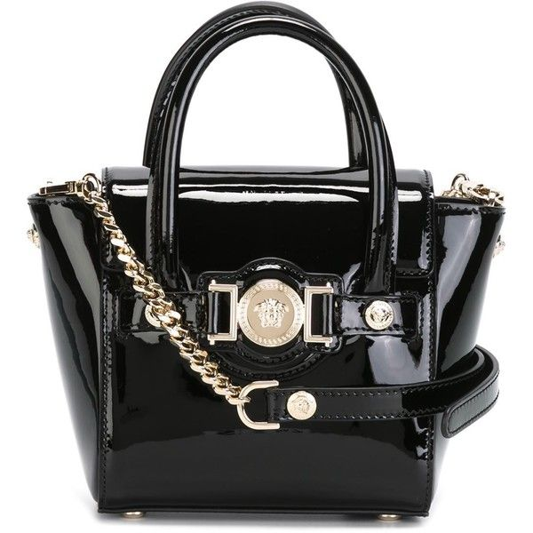 Versace mini Signature tote (6.290 RON) ❤ liked on Polyvore featuring bags, handbags, tote bags, purses, black, versace purses, handbags totes, man bag, mini handbags and mini tote