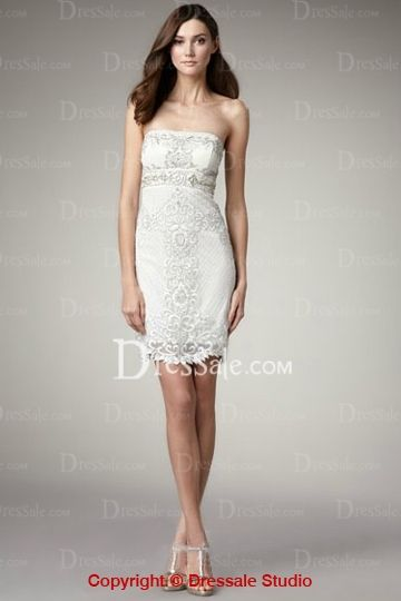 Fanciful White Sheath Cocktail Dress With Sophisticated Lace Wedding Reception
