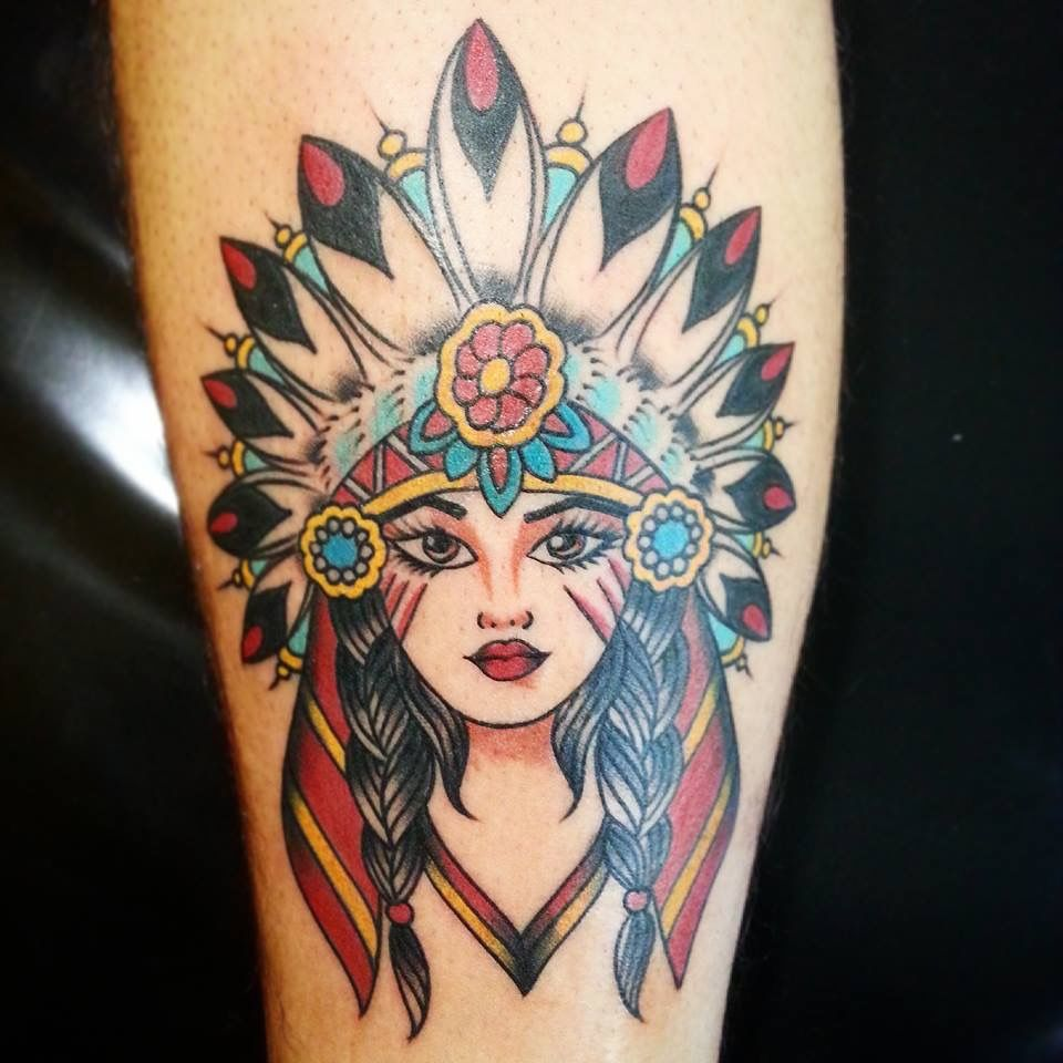 Native American Woman Tattoo Ink Tattoos Native border=