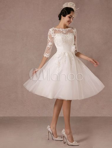 Short Wedding Dress Vintage Lace Applique Long Sleeves Tea Length A