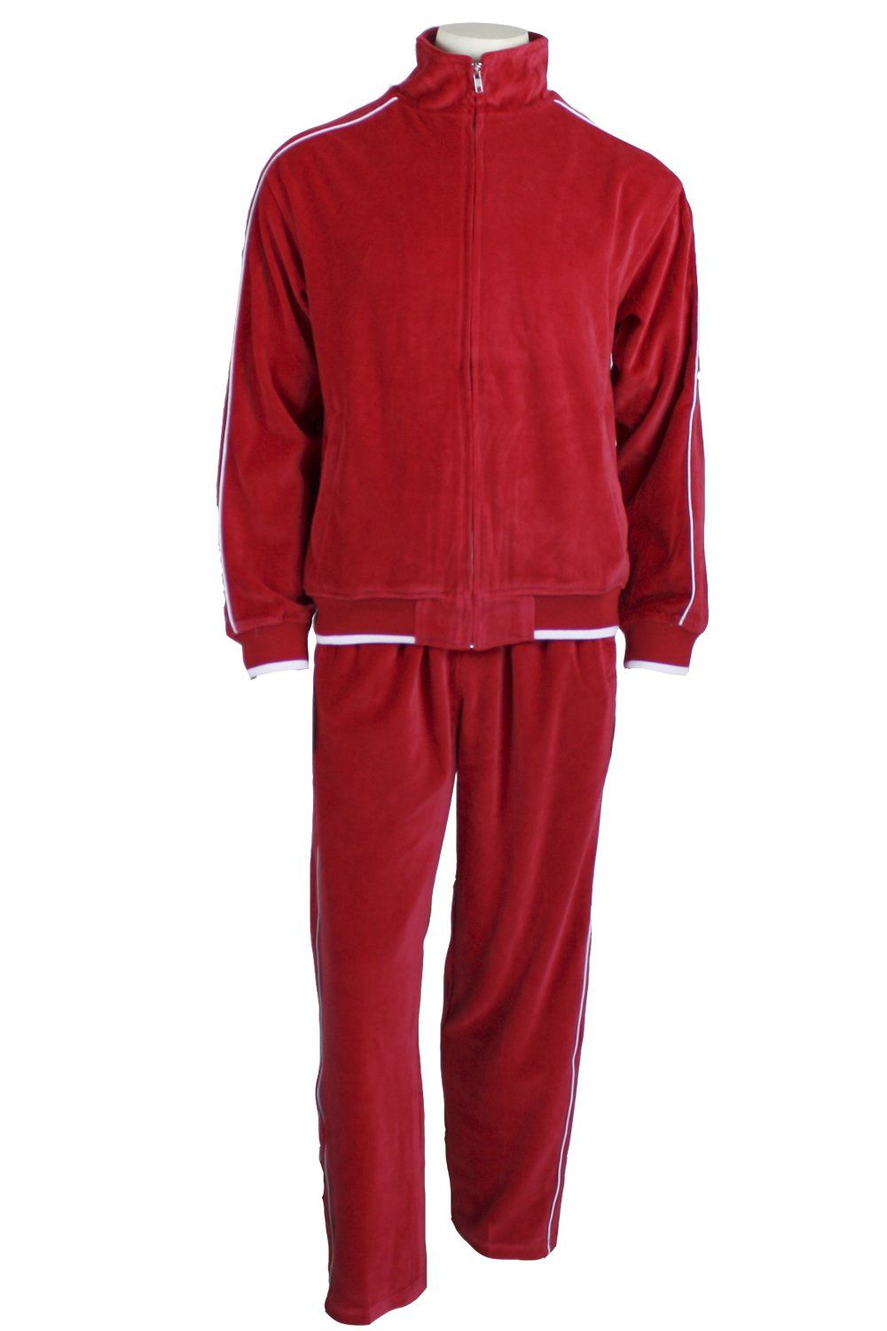 Mens Velour Tracksuit Small Red Mens Velour Tracksuit